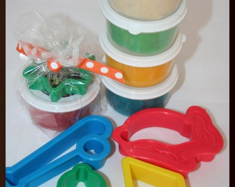 One 3oz Natural Homemade Play Dough With Dough Cut Out Shape-Great Party Favor Gift, Playdough, Treat Bag Gift- BUILK PRICING