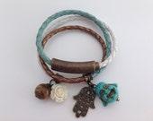 Ibiza style wrap bracelet with charms