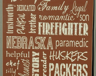 """Customized 20"""" x 26"""" Rust Painted Distressed Wood Subway/Typography Family/Personal Sign"""