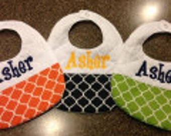 Handmade personalized bibs for boys--set of 3