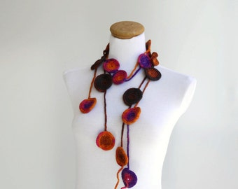 Spring Fashion, Colorful necklace, crochet lariat, crochet belt, handmade neckwarmer, scarf...