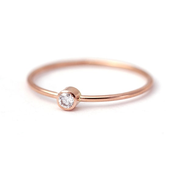 Simple Engagement Ring - Rose Gold Engagement Ring - 14k Solid Gold
