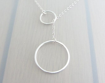 Sterling Silver Circle Necklace, Two Circle Lariat Necklace, Eternity Ring Y Necklace, Infinity Circle Necklace, 14-25mm Infinity Necklace
