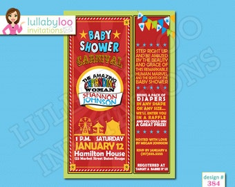 Carnival Baby Shower Invitations - Printed Baby Shower Invitations - Custom Invitations