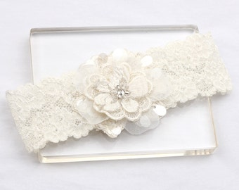 Wedding Garter - Bridal Garter, Lace Garter, Wedding Garter Belt, Ivory Garter, Lace Garter, Keepsake garter