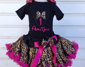 Minnie mouse Inspired Leopard and Hotpink Birthday outfit - Include Personalised Top,super fluffy skirt and matching headband