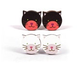 Mintapalinta POP, Black or White Cats, Wooden Stud Earrings and Rings, Unique Designed Girls' Kawaii Jewelry, Free Shipping