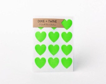 SALE 24 Neon Green Mini Heart Stickers