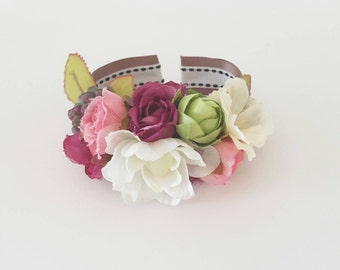 Silk flower bracelet | wrist corsage of pink and white | bridesmaids' and family wrist corsage