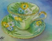Original Painting Lady Aynsley Teacup Art GIFT