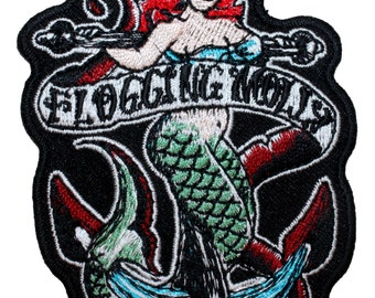 "Band ""Flogging Molly"" Sailor Mermaid Logo Punk Rock Music Iron On Applique Patch"
