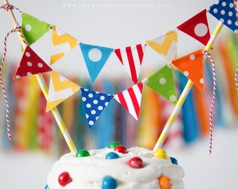 Fabric Cake Banner-Red,yellow,green, orange and blue, Circus