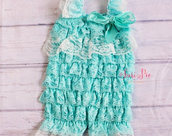 Ruffle Lace Romper..Baby Clothing..Lace Petti Romper..Newborn Outfit..Baby Girl Clothing..Rompers..Cake Smash Outfit..Ruffle Romper