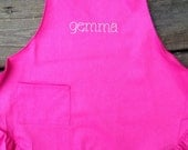 Personalized Ruffle Art or Chef Apron with pocket--Fits toddler or child