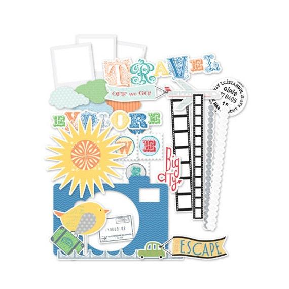 TRAVEL SCRAPBOOK Kit / Little Yellow Bicycle / 48 PIECES / Fabric Felt Sticker Embellishments, Mixed Media Supplies