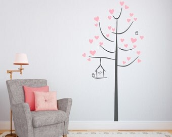 Doodle Love Tree - Vinyl Wall Decal, Tree Wall Sticker, Nature Wall Decal, Nursery Tree Wall Decal, Heart Decal Sticker, Heart Leaves Decal