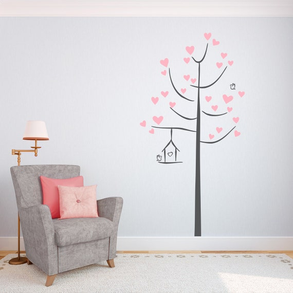 Doodle Love Tree Vinyl Wall Decal Tree Wall Sticker Nature