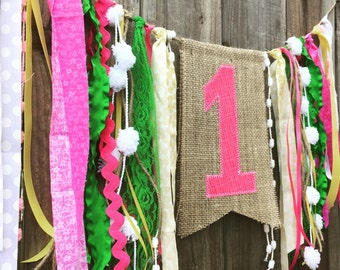 Number or Letter Burlap Birthday Banner with Streamers  // High Chair Banner // Customizable