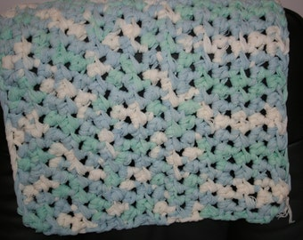 Clearance Sale~Beautiful Rustic Blue and white Crochet Cot Blanket For Baby Measures 47cm x 57cm. Chunky Viscose.Woven with my fingers!