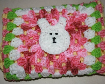 Crochet Baby Blanket With Bunny Rabbit Appliqué. Measures 50cm square. Yellow. Great Gift!