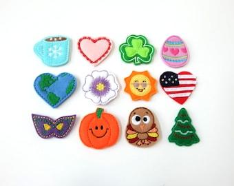 Interchangeable Holiday Badge Reel Bundle - Felt Badge Reel - Cute Retractable ID Clips - Seasonal Badge Holder - Peds RN Gift - BadgeBlooms