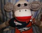 Denver Broncos  Classic Brown Red Heel Sock Monkey Doll/Handmade