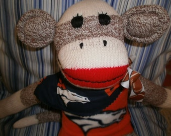 Denver Broncos  Classic Brown Red Heel Sock Monkey Doll/Handmade