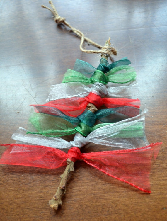 Holiday ribbon trees ornaments branch ornament handmade ribbon tree hanging ornament red green ribbon branch ornament