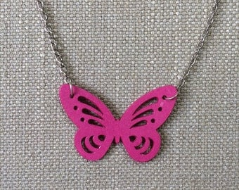 Butterfly pendant made from hot pink paper