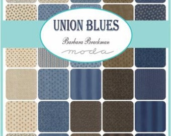 "Moda Sample Spree Union Blues Charm Pack Fabrics 42 - 5"" Fabric Quilt Squares Kit"