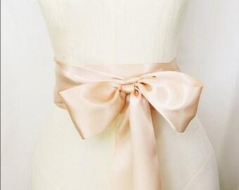 Blush Ribbon Sash - 3 inch width x 144 inches length (4 yards)-Wedding Sash, Bridal Sash, Plain Sash, Blush Pink Sash, Blush Pink Belt