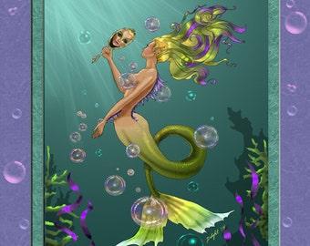 Mermaid, bubbles, undersea an Open Stock Print