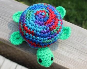 MADE to ORDER TURTLE, Crochet toy stuffed toy, blues, greys - toddler, baby, child, girls, boys, safety eyes, yarn, play, fun, birthday