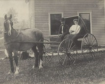 Our Picture with Topsy - Antique 1900s Horse and Buggy Silver Gelatin Print Real Photo Postcard