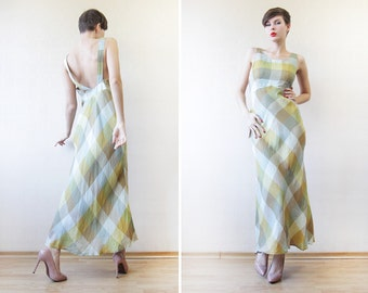 CACHAREL pastel green plaid linen low back maxi sun dress M-L