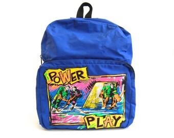 1990's Neon PoWeR pLaY backpack // hockey school bag // 90s rucksack