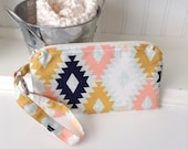 Arizona Print Flat Wristlet - Southwest Fabric Wristlet - Cellphone Pouch - Gadget Case