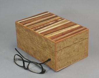 Australian Oak Veneer Wood Box With Various Wood Veneers On Top.