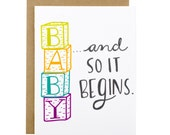 Baby Shower Card - Congratulations Baby Card - Baby Blocks