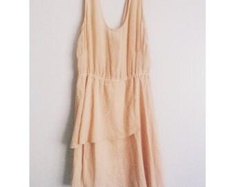 vintage aritzia wilfted layered silk summer dress peach S