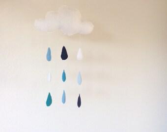 Rain cloud mobile with raindrops, - felt mobile - rain - sky - Baby nursery mobile
