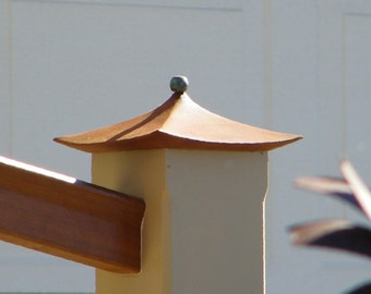 Post Cap, Hand Carved, Pagoda Style, Asian Influence, Western Red Cedar, Clear Vertical Grain