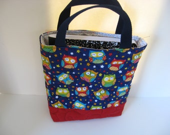 Quilted owl tote bag great for kids tablet, lunch or car trip