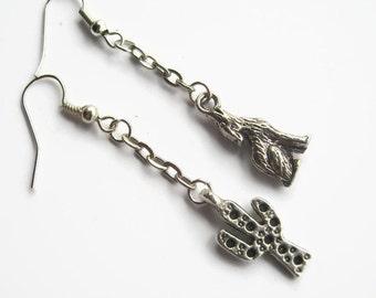 Cactus & Coyote Earrings, Saguaro Cactus Earrings, Desert Dangle Earrings, Nature, Southwestern Earrings, Personalized, READY To SHIP