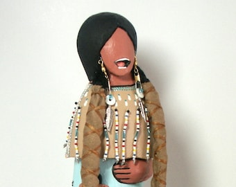Storyteller Native American Indian faceless art doll collectible signed numbered OOAK