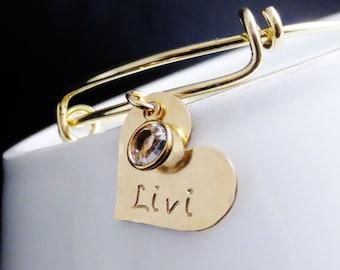 Personalized Gold Little Girl Bangle Charm Bracelet, Child Size Bracelet, Name Jewelry, Mom Daughter Bracelet Set, Mother Daughter Jewelry