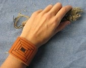 leather cuff - with quilt square drawing - courthouse steps