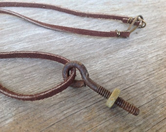 Hardware Jewelry - Eye Screw and Nut Necklace - Leather Screw Necklace