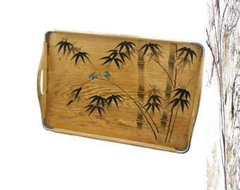 Vintage 1940's Asian Aesthetic Bamboo Wood Serving Tray with Painted Gilded Birds Mid Century Danish Modern Hollywood Regency Art Deco Table