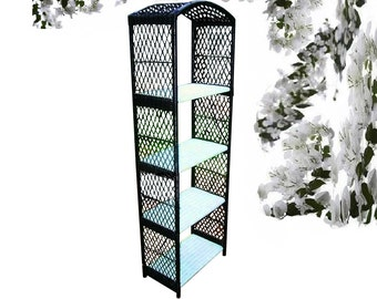 HENRY LINK Wicker Shelves Mid Century Modern Retro Vintage Cottage 1960s Tall Woven Rattan Bookcase French Country Bakers Rack Plant Stand